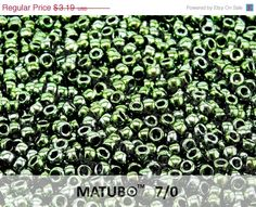 ON SALE 10g (200pcs) Lustered Green Jet Matubo Rocaille 7/0 (3.5mm) Czech Glass Seed Beads #etsy #Czech