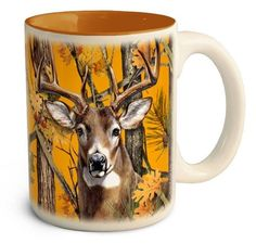 This American Expedition Whitetail Deer Orange Camo Series Stoneware Coffee Mug features a deer head on the front. Mugs Set, Tea Mugs, Coffee Mugs, Whitetail Deer Hunting, Deer Illustration, Bone Color, Pink Camouflage, Hunting Gifts, Color Glaze