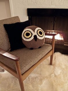 CROCHET OWL PILLOW by peanutbutterdynamite on Etsy. $45.00 USD, via Etsy.