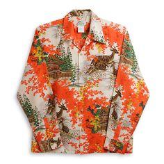 Cowichan Family | Rakuten Global Market: Hawaiian shirt LARA chi (LALAKAI )|) Hl-042LG colored leaves, red | Raw silk | Slight wound and thick middle cloth | Long sleeves | Aloha tower Aloha Shirts LALAKAI