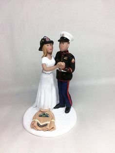 Custom Marine and Firefighter Bride and Groom Wedding Cake