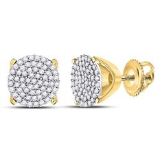 713df2dbd 10kt Yellow Gold Womens Round Diamond Circle Cluster Stud Earrings 1/3 Cttw