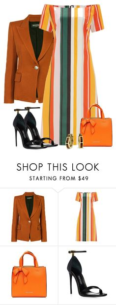"""Striped Dress & Balmain Blazer"" by majezy ❤ liked on Polyvore featuring Balmain, Finery London, Suzy Levian and Bling Jewelry"