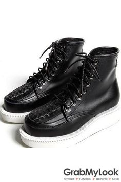 GrabMyLook Black Lace Up Run Way Mens Military Thick White Sole High Top Boots Sneaker