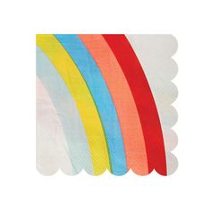 RAINBOW SMALL NAPKINS - Experience the magic at the end of the rainbow with these beautiful and colorful party napkins. The napkins are decorated with a scollop edge. Boutique style partyware by Meri Meri. Pack contains 20 napkins. Napkin size: (folded) approx. 5 x 5 inches.