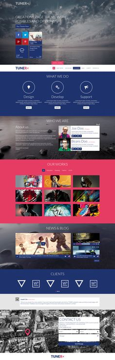 Tuner - One Page Portfolio PSD Template by Zizaza - design ocean , via Behance
