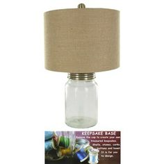 Clear Keepsake Base Lamp with Burlap Shade   Shop Hobby Lobby - fill w/ marbles or dice or old game pieces