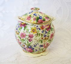 Royal Winton Summertime Chintz Preserves Pot with Lid, Art Deco Jam or Jelly Pot with Lid by TheWhistlingMan on Etsy