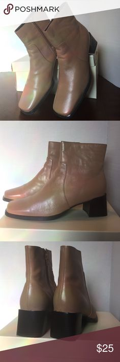 NIB Liz Claiborne Tan Leather Ankle Boots 8.5M This is a really cute pair of tan ankle boots by Liz Claiborne of the Lizflex line. These boots have never been worn and have a 2 inch heel. They will come in the original box. From a smoke free home. Liz Claiborne Shoes Ankle Boots & Booties