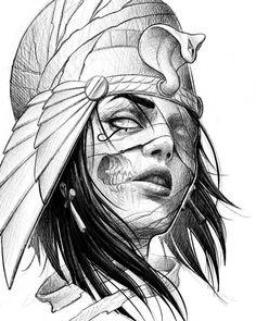 Cleopatra Tattoo Sketch on Inspirationde - Cleopatra Tattoo Sketch on Inspira . - Cleopatra Tattoo Sketch on Inspirationde – Cleopatra Tattoo Sketch on Inspirationde – - Dark Art Drawings, Art Drawings Sketches, Tattoo Sketches, Tattoo Drawings, Sketch Tattoo Design, Tattoo Designs, Mago Tattoo, S Tattoo, Tiny Tattoo
