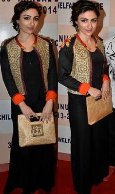 Soha Ali Khan @ a charity event wearing a black dress with a chic jacket on top