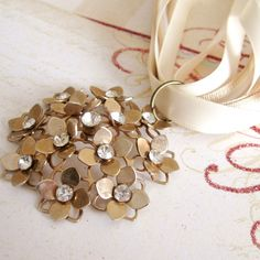 Fairy Necklace Floral Flower Rhinestone cream vanilla ribbons choker, Causerie, FREE SHIPPING by Maddie Lisee. $20.00, via Etsy.