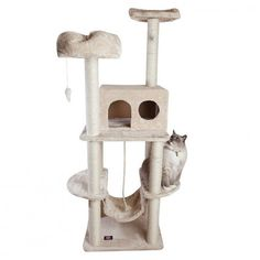 This unit is an excellent multi-level large cat climbing tower for a multi-cat household! With so many levels, perches, and hideaways, your cats won't need the home furniture anymore. Cat Tree Condo, Cat Condo, Large Cat Tree, Cat Activity, Tree Furniture, Furniture Plans, Sisal Rope, Cat Climbing, Cat Scratcher