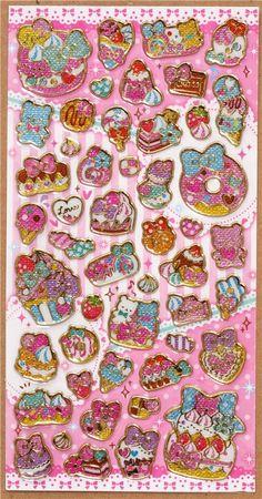 cute cupcakes glitter sticker from Japan candy 2 Stickers Kawaii, Food Stickers, Cute Stickers, Kawaii Crafts, Cute Pens, Cute Stationary, Sticker Bomb, Modes4u, Kawaii Shop