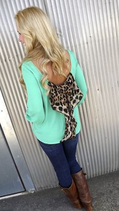 Classic Leopard Bow Blouse - GREEN