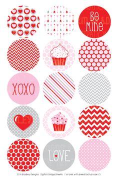 Valentines Day Digital Bottle Cap Images