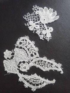 即決フランスアンティーク レースモチーフ2枚 粒々クロシェ Antique lace ¥500yen 〆04月21日