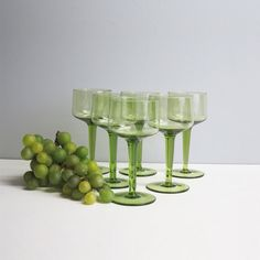Six vintage green wine glasses  tall stem  modern by RecentHistory