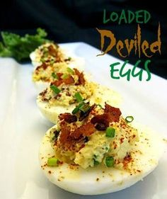 Savory deviled eggs loaded with Cheddar cheese and bacon bits make a nice appetizer or a light meal. Ingredients: 12 large eggs (hard-boiled, cooled & halved) 6 slices bacon (cooked crisp & crumbled) 2 teaspoons fresh chives 2 teaspoons white