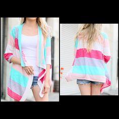 Multi Stripe Cardigan - Small to Large - $22.50