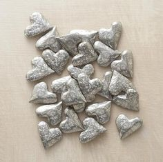 HANDFUL OF HEARTS -- Tokens of affection to tuck into a purse or pocket, hide under a pillow or scatter the length of a mantel. Rough hewn and lead-free, these wonderfully weighty pewter heart tokens are love's little messengers. Made in USA. Set of I Love Heart, With All My Heart, Jewelry Gifts, Handmade Jewelry, Jewelry Ideas, Jewellery, Paperclay, Heart Art, All You Need Is Love