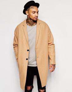ASOS Drop Shoulder Overcoat In Camel