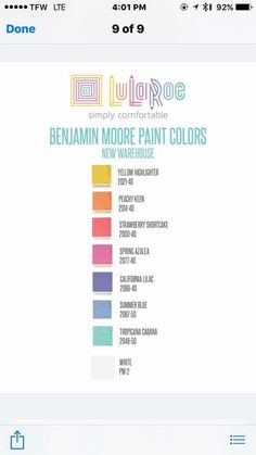 Fantastic Paint Swatch Idea for Your LuLaRoom!   Connect with us via email at lularoemariaoneill@gmail.com or sign up today at: https://join.mylularoe.com/MariaONeill/join