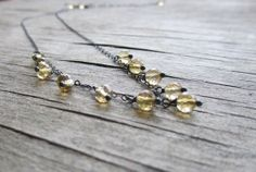 Delicate citrine necklace  gemstone necklace  by PixiesForest, $57.00