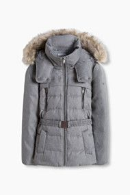 Down jacket with an adjustable hood