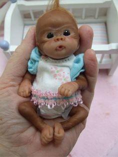 OOAK Newborn Baby Orangutan Monkey Sculpted Polymer Clay Art Doll Poseable in Dolls & Bears, Dolls, Art Dolls-OOAK