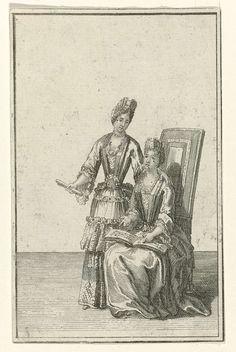 Staande en zittende vrouw gekleed in een manteau, possibly Bernard Picart, 1683 - 1733