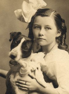 Victorian girl with her Jack Russell circa 1900