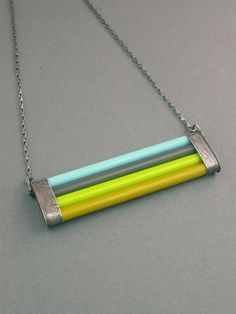 glass necklace glass cane bright oxidized sterling geometric modern bold eclectic jewelry acid green lime slate gray turquoise wearable. $140.00, via Etsy.