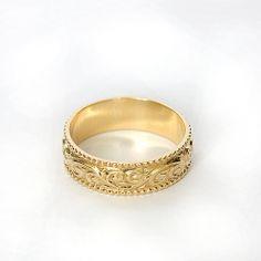 Wedding Ring Rose Gold Art Nouveau Millgrain Artnouveau Vintage Band Www