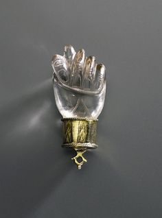Amulet Neidfeige (Fica), protection against anything evil, 1500. Rock Crystal, Silver, gilded. Germany.
