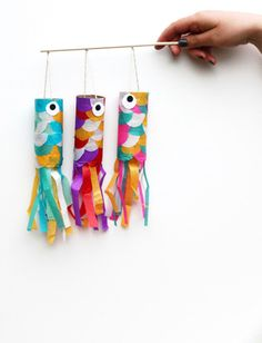 A fun fish craft out of recycled paper towel tubes and tissue paper. You could also use pages from magazines or old wrapping paper for the scales. To turn it into a motor skills activity, have students create the scales with large paper punches.
