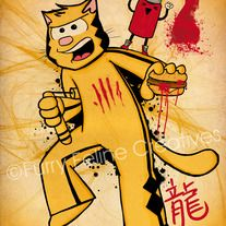 """Ringo dresses up in the yellow-and-black jumpsuit that Bruce Lee made famous.  """"Ketsup"""" or Catsup"""" makes everything better!  Since we are rated PG, there's no blood, yes that's ketsup!    This 12x16 artwork is printed on 100 lb cardstock in rich vibrant colors, and has a really pleasing satin matte finish.      Illustrated by Cheri Lynn Ong of Furry Feline Creatives.    This print will ship with a sturdy cardboard tube. $18.00"""