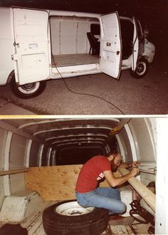Vehicle 73 - 1975 Dodge Maxi-Van.  Replaced the motorhome with an extended Dodge van.  This is the conversion of the cargo van to a camper 8-12-82. It would serve as our tow car for two years.