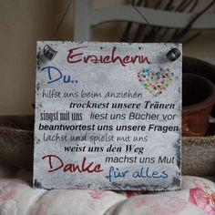 """Deko-Objekte - Shabby Schild """"Erzieherin"""" Kindergarten Geschenk - ein Designerstück von handsart-handarbeit bei DaWanda"""