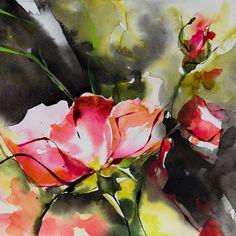 Petit instant N°206-L'Envoûteuse - Boyama,  20x20 cm ©2014 Véronique Piaser-Moyen tarafından -                                                            Çağdaş resim, Kâğıt, Çiçek, aquarelle, watercolor, piaser, piaser-moyen, fleurs, fleur, flower, flowers, rose