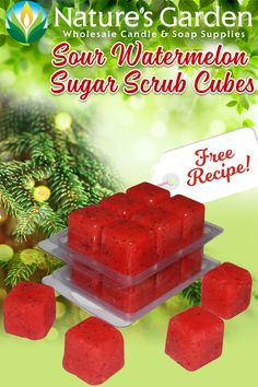 Free Sour Watermelon Sugar Scrub Cubes Recipe by Natures Garden.