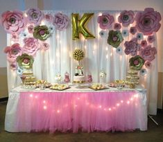 Pink and Gold Backdrop: