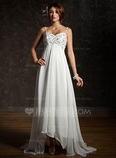 Empire Sweetheart Asymmetrical Ruffle Lace Beading Sequins Spaghetti Straps Sleeveless Beach General Plus No Spring Summer Ivory Chiffon Wedding Dress