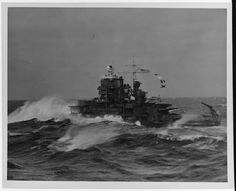 A badass USS Mississippi (BB-41) steaming through some heavy weather in the North Atlantic, September 1941, during a neutrality patrol.