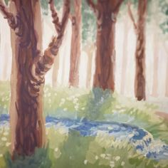 Tried to draw a sunny forest :з Looks like a background for a cartoon xD #illustration #art #drawing