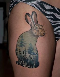 Magnificent Double Exposure Tattoos - Poetic rabbit by Mátyás Csiga Halász.
