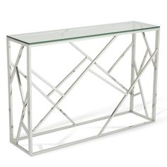 Betty Glass Console Table Rectangular In Clear With Polished Stainless Steel Base, It will add a classic touch to your living room, The Table is made of Clear tempered glass top, which is well supp...