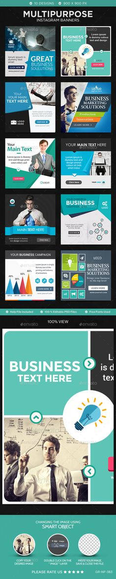 Business Instagram Templates - 10 Designs #design Download: http://graphicriver.net/item/business-instagram-templates-10-designs/11448989?ref=ksioks