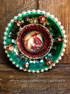 Mexican-Folk-Art-Ornament / Loteria Mini Altar / Day-of-the-Dead Miniature Circular Shrine / Retablo Circle Shrine / Wall Decor Nicho on Etsy, $17.00