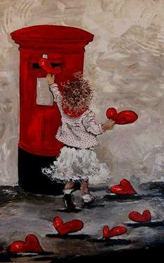 """Képtalálat a következőre: """"maria magdalena oosthuizen art"""" My Funny Valentine, Vintage Valentines, Happy Valentines Day, Valentine Hearts, Valentine Wishes, I Love Heart, Happy Heart, Illustration, Heart Art"""